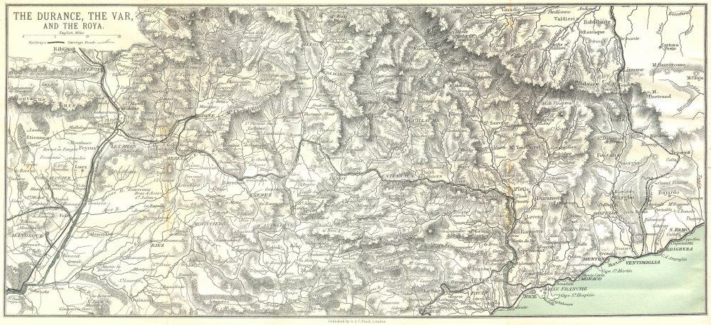 Associate Product VAR. Grasse St Vallier Digne. Durance Roya 1913 old antique map plan chart