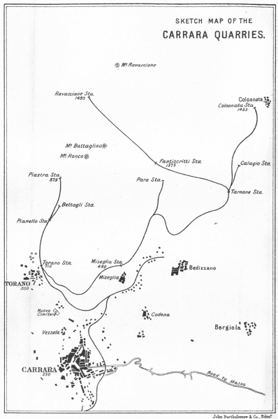 Associate Product ITALY. La Spezia. Sketch Carrara Quarries 1913 old antique map plan chart