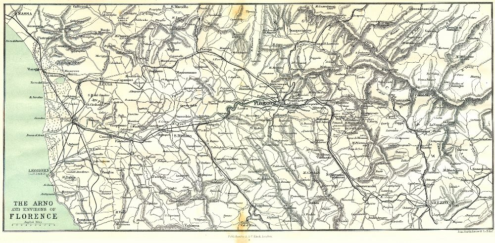 Associate Product ITALY. Arno & area of Florence 1913 old antique vintage map plan chart