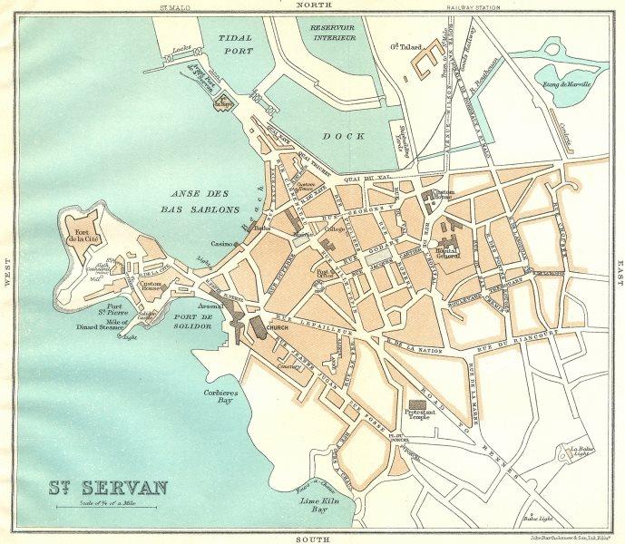 Associate Product ILLE-VILAINE. St Servan 1923 old vintage map plan chart