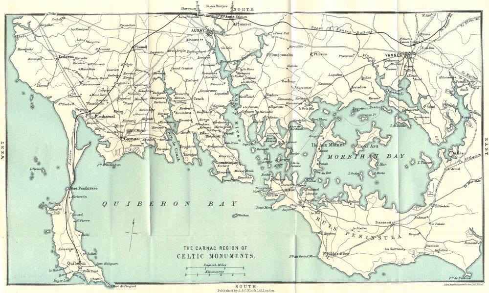 Associate Product CARNAC. Locmariaquer. Region Celtic Monuments 1923 old vintage map plan chart