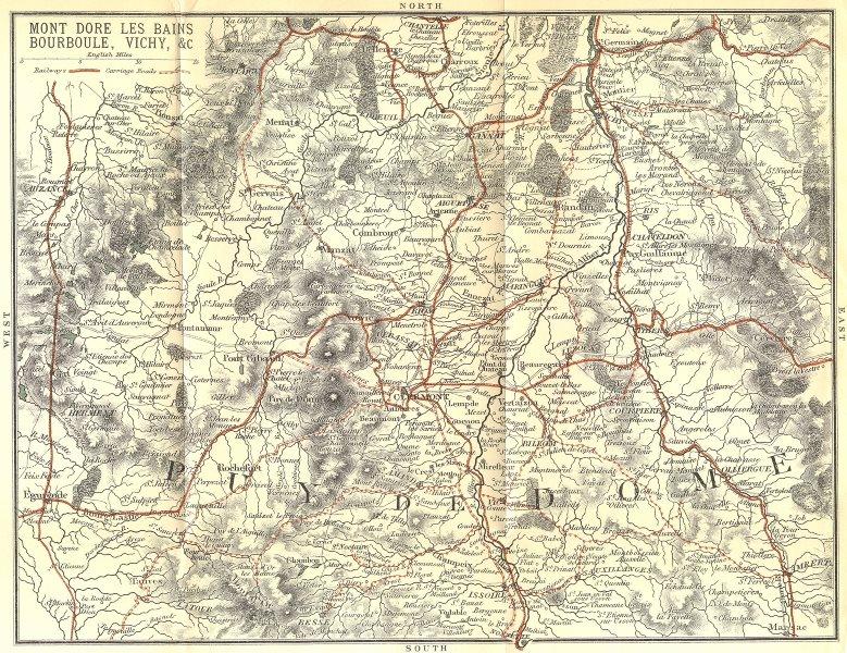 Associate Product PUY-DE-DÔME. Mont Dore Bains Bourboule, Vichy 1899 old antique map plan chart