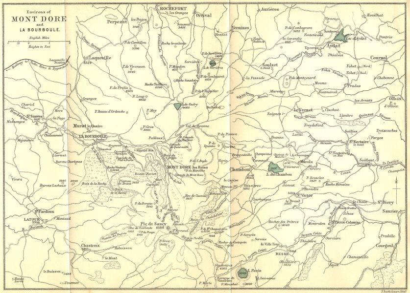 Associate Product PUY-DE-DÔME. Area of Mont Dore & Bourboule 1899 old antique map plan chart
