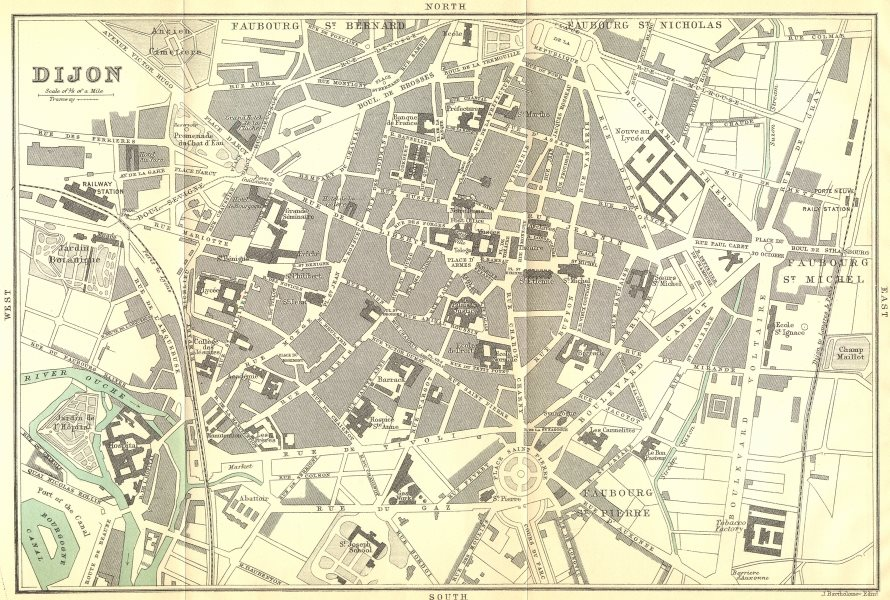 Associate Product CÔTE-D'OR. Dijon 1899 old antique vintage map plan chart