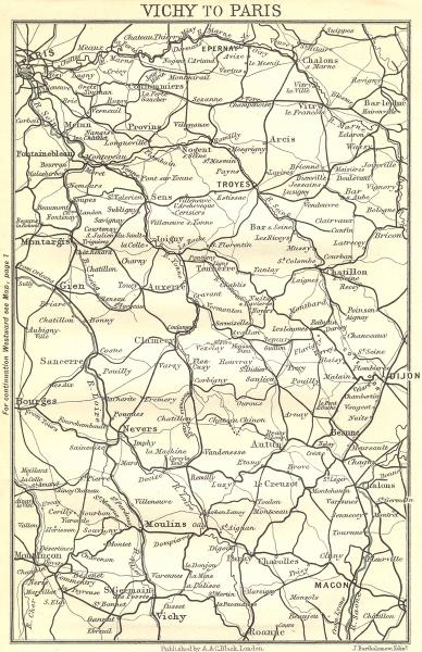 Associate Product ALLIER. Vichy to Paris 1909 old antique vintage map plan chart