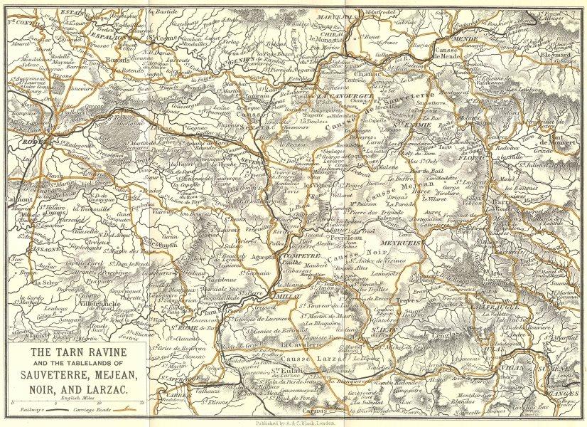 Associate Product TARN. Ravine Sauveterre, Mejean, Noir Larzac 1909 old antique map plan chart