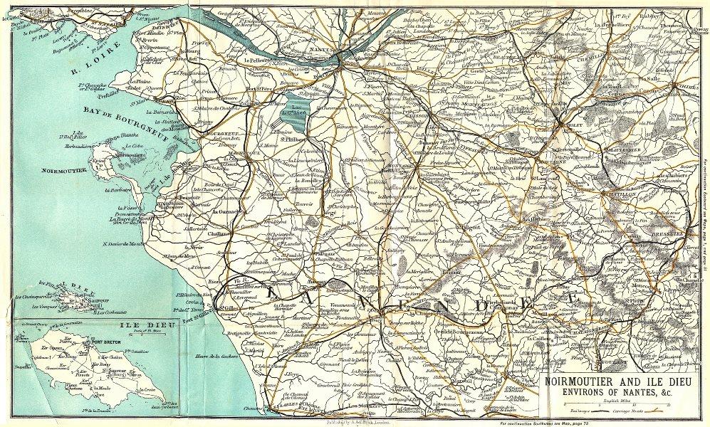 Associate Product NANTES. Noirmoutier & Ile Dieu area of 1909 old antique vintage map plan chart