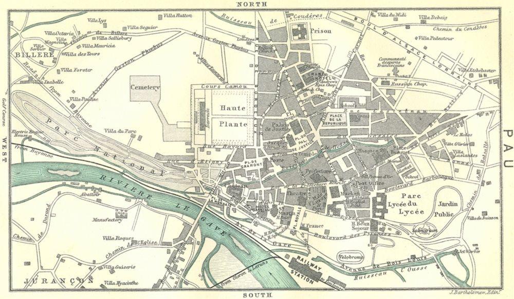 Associate Product PYRÉNÉES-ATLANTIQUES. West Pyrenees. Pau 1909 old map plan chart