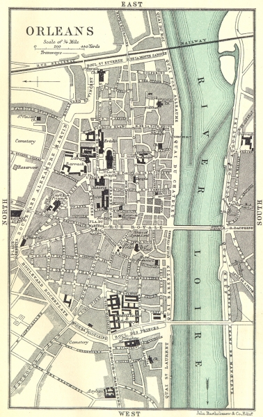 Associate Product ORLEANS town/city plan de la ville. Loiret 1914 old antique map chart