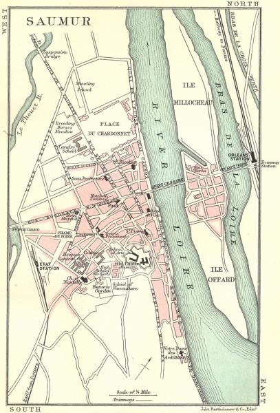 Associate Product SAUMUR town/city plan de la ville. Maine-et-Loire 1914 old antique map chart