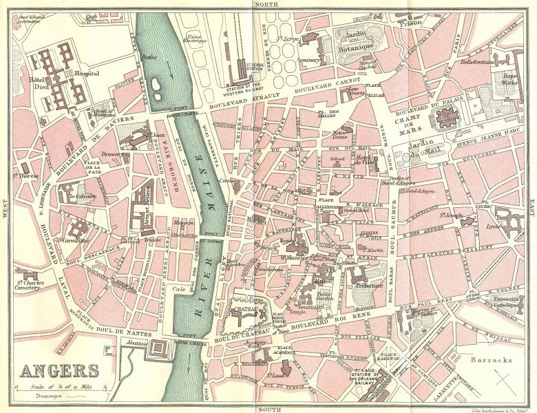 Associate Product ANGERS town/city plan de la ville. Maine-et-Loire 1914 old antique map chart