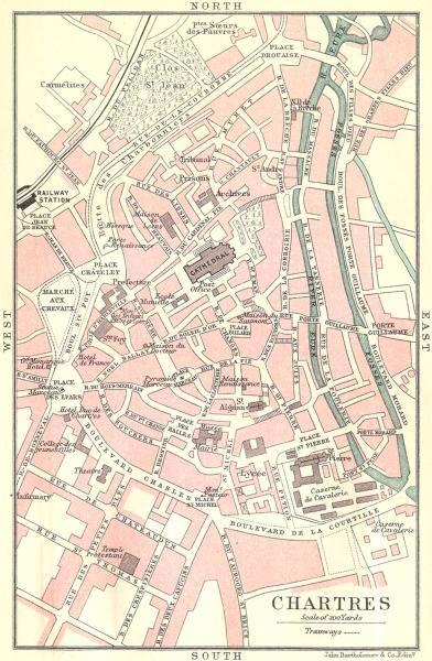 Associate Product CHARTRES town/city plan de la ville. Eure-et-Loir 1914 old antique map