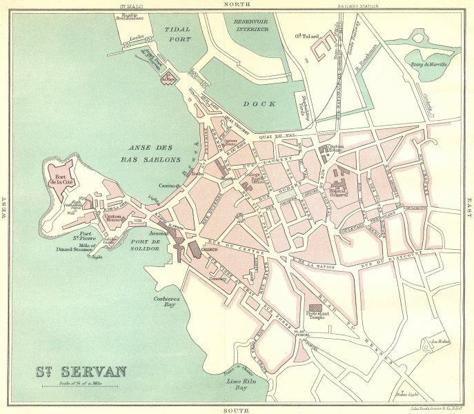 Associate Product ST. SERVAN town/city plan de la ville. Ille-et-Vilaine 1914 old antique map