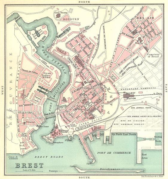 Associate Product BREST town/city plan de la ville. Finistère 1914 old antique map chart