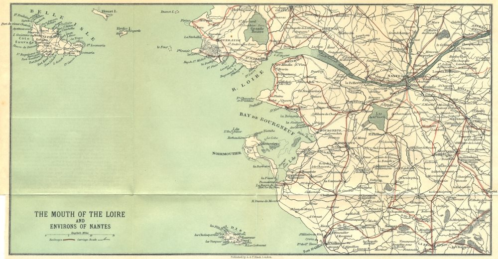 Associate Product Loire estuary & Nantes environs. Belle-Île-en-Mer 1914 old antique map chart