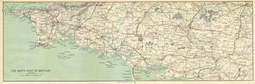 Associate Product South-west Brittany Bretagne Finistère Morbihan Cote Iroise Cornouaille 1914 map