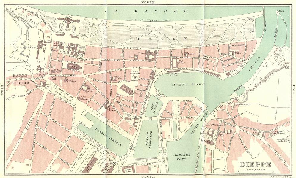 Associate Product SEINE-MARITIME. Dieppe 1913 old antique vintage map plan chart