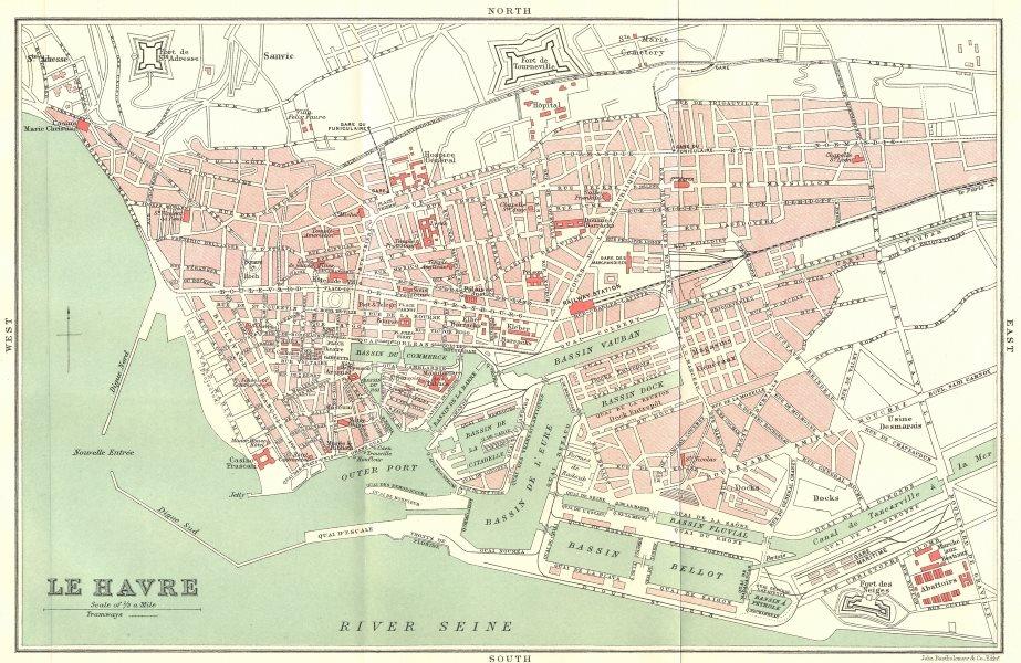 Associate Product SEINE-MARITIME. Le Havre 1913 old antique vintage map plan chart