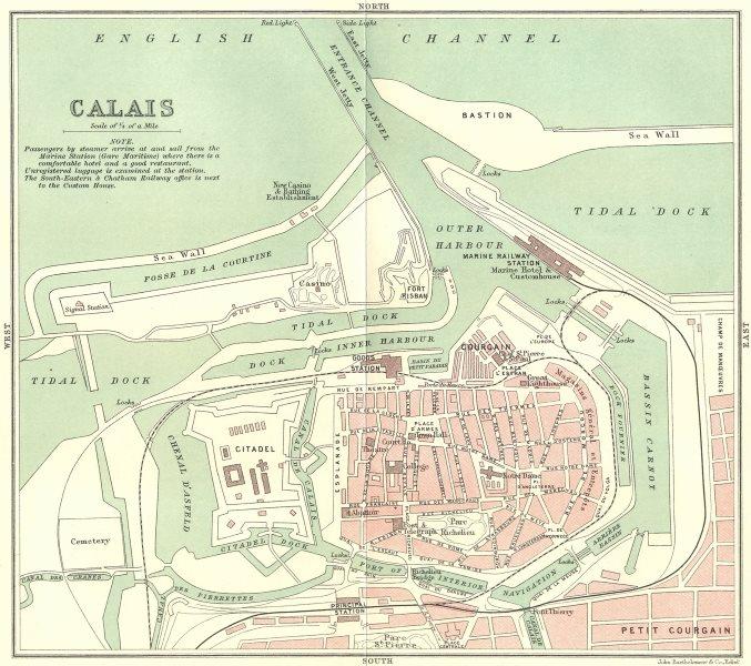 Associate Product PAS-DE-CALAIS. Calais town plan 1913 old antique vintage map chart