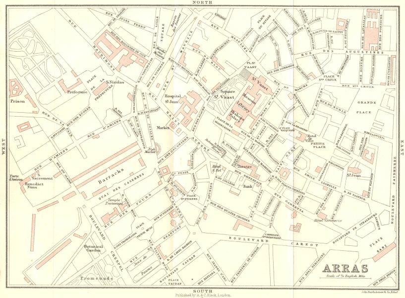 Associate Product PAS-DE-CALAIS. Dunkerque to Paris. Arras 1913 old antique map plan chart