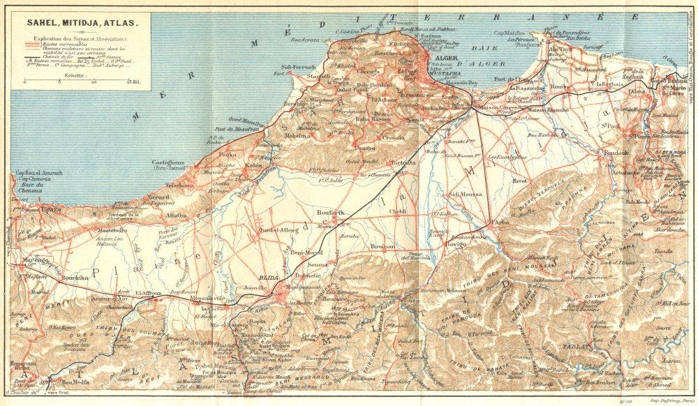 Associate Product ALGERIA. Sahel, Mitidja, Atlas 1909 old antique vintage map plan chart