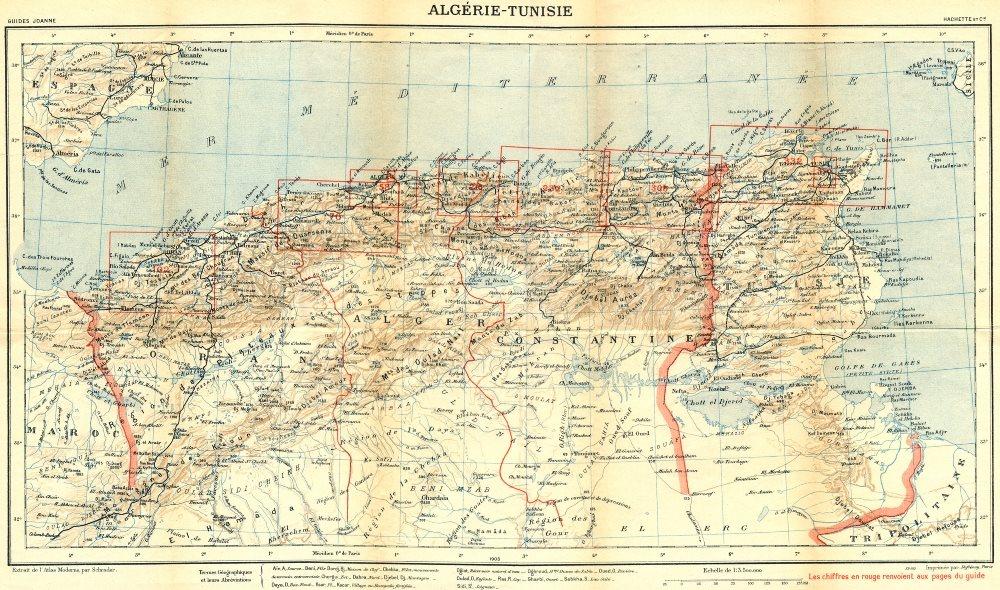 Associate Product ALGERIA TUNISIA. Tunisie 1909 old antique vintage map plan chart