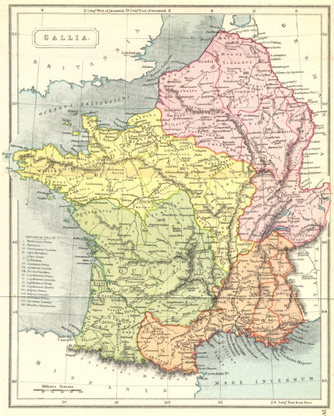 Associate Product FRANCE. Gallia Roman 1908 old antique vintage map plan chart