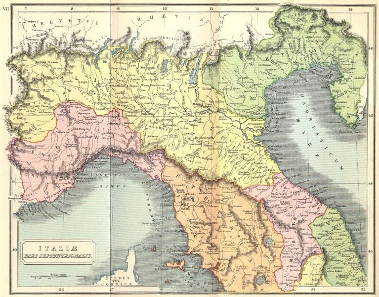 Associate Product ITALY. Italiae Pars Septentrionalis Roman 1908 old antique map plan chart