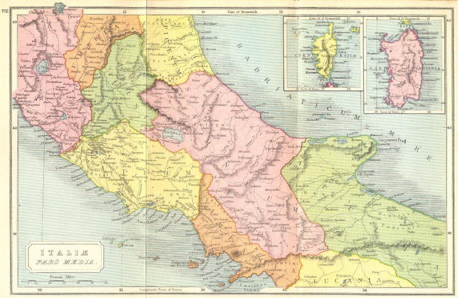 Associate Product ITALY. Middle; Cyrnus vel Corsica Sardo Sardinia 1908 old antique map chart