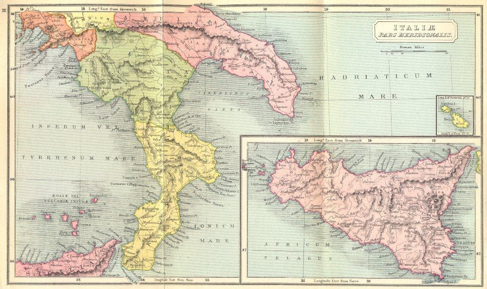 ITALY. Italiae Pars Meridionalis; Sicilia Roman 1908 old antique map chart