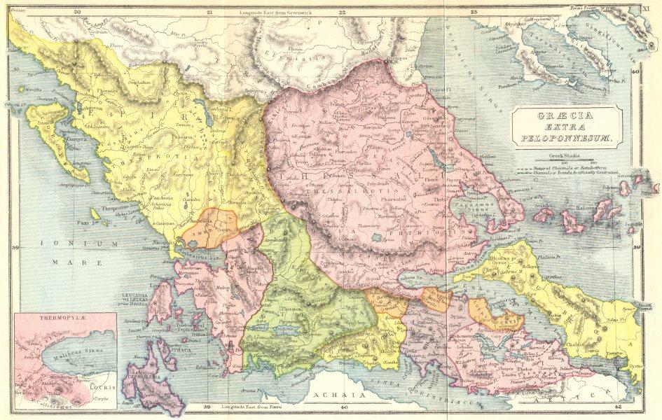 Associate Product GREECE. Graecia extra Peloponnesum; Thermopylae 1908 old antique map chart