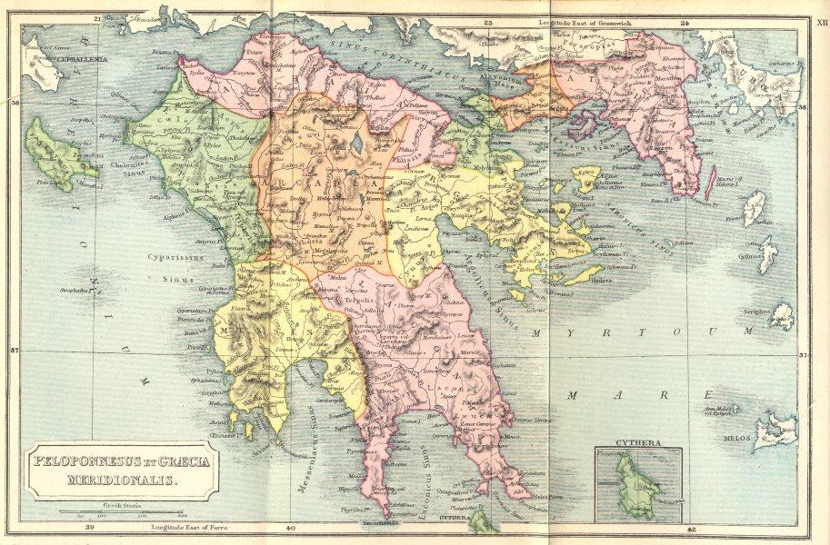 Associate Product PELOPONNESUS. Graecia Meridionalis; Cythera 1908 old antique map plan chart