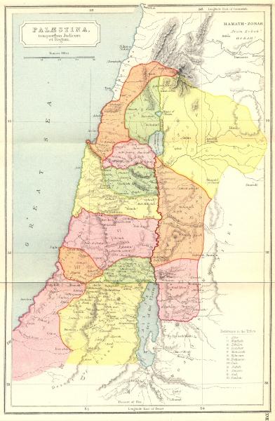 Associate Product ISRAEL. Palaestina, temporibus Judicum Regum 1908 old antique map plan chart