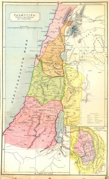 Associate Product ISRAEL. Palestine, Christi Apostolorum; Jerusalem 1908 old antique map chart