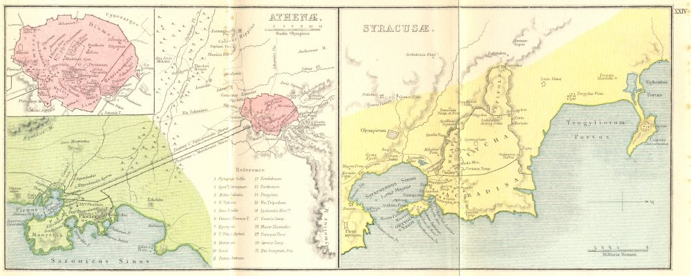 Associate Product GREECE. Athenae; Syracusae; Athens Syracuse 1908 old antique map plan chart