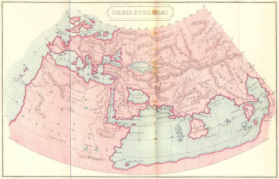 Associate Product WORLD. Orbis Ptolemaei; ancient world map 1908 old antique plan chart