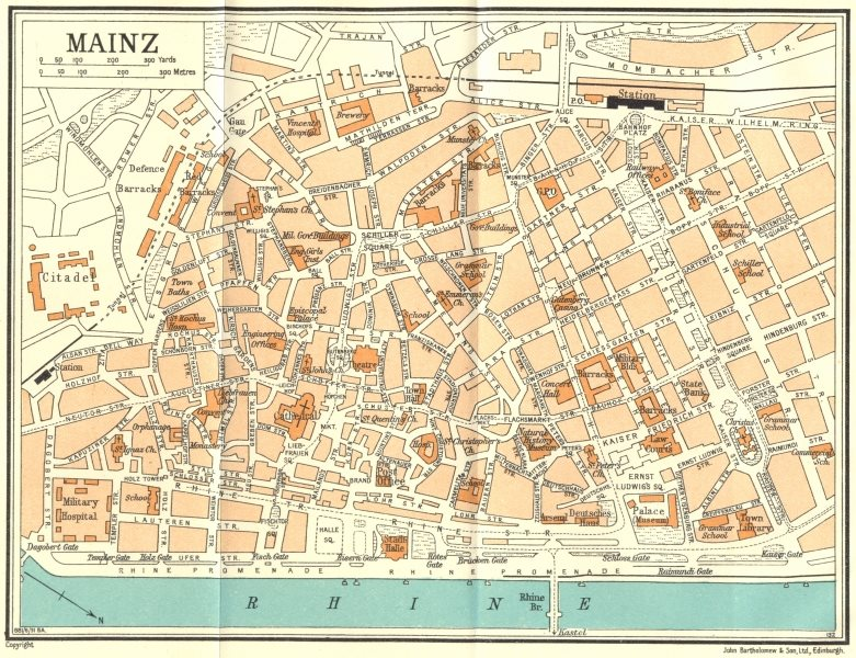 Associate Product GERMANY. Mainz 1931 old vintage map plan chart