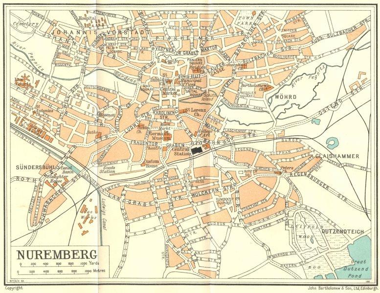 Associate Product GERMANY. Nuremberg 1931 old vintage map plan chart