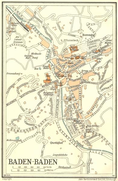 Associate Product GERMANY. Baden Baden 1931 old vintage map plan chart