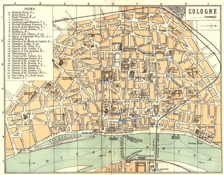 Associate Product GERMANY. Cologne 1910 old antique vintage map plan chart
