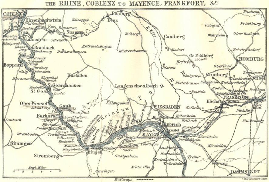 Associate Product GERMANY. Rhine, Coblenz to Mainz, Frankfurt 1910 old antique map plan chart