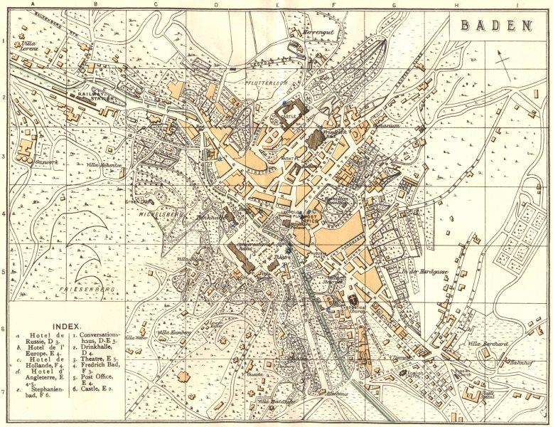Associate Product SWITZERLAND. Baden 1910 old antique vintage map plan chart