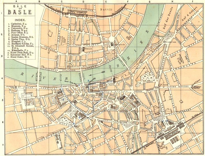 Associate Product SWITZERLAND. Bale Basel Basle 1910 old antique vintage map plan chart