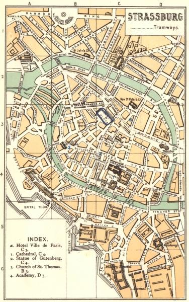 Associate Product BAS-RHIN. Strasbourg Strassburg 1910 old antique vintage map plan chart