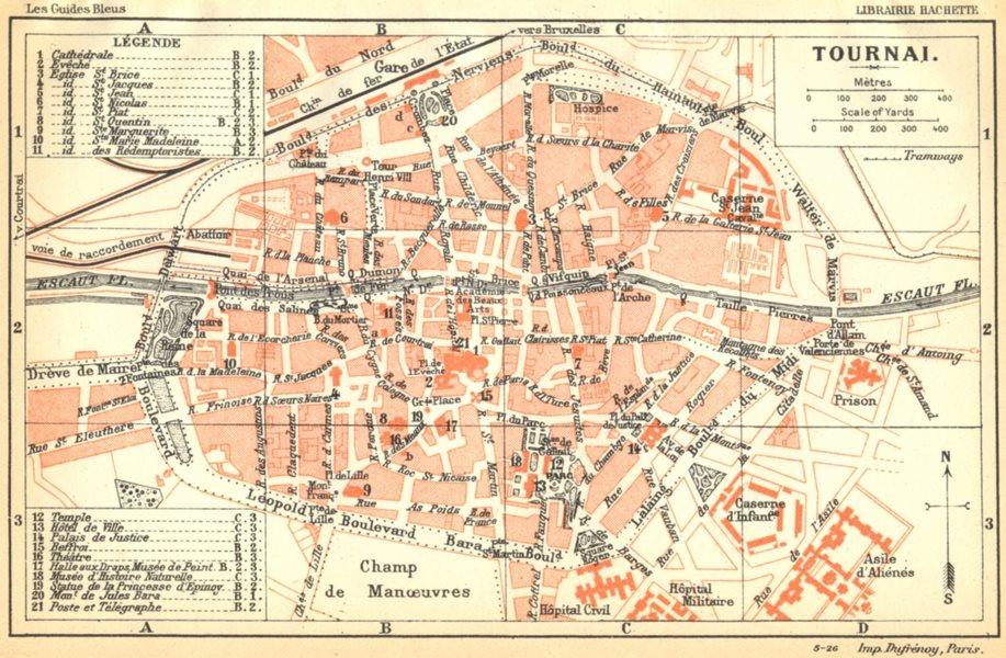 Associate Product BELGIUM. Tournai. Town city ville plan carte map 1924 old vintage chart