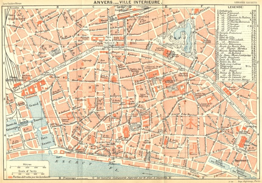 Associate Product BELGIUM. Antwerp. Anvers. Ville Interieure. Town city ville plan carte map 1924