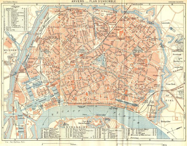 Associate Product BELGIUM. Anvers. Plan d'ensemble. Town city ville plan carte map 1924 old