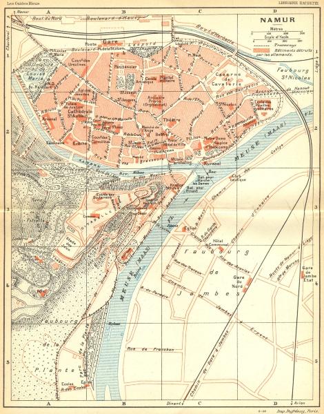 BELGIUM. Namur. Town city ville plan carte map 1924 old vintage chart