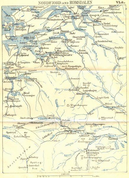 Associate Product NORWAY. Nordfjord & Romsdalen. Molde 1896 antique vintage map plan chart