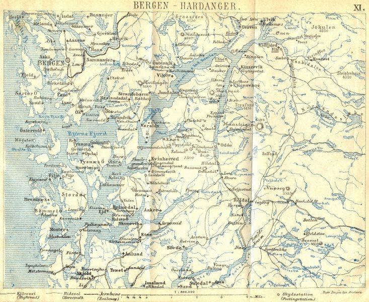 Associate Product NORWAY. Bergen-Hardanger 1896 old antique vintage map plan chart